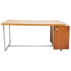 Bauhaus Large Desk in Wood and Tubular Metal, circa 1930