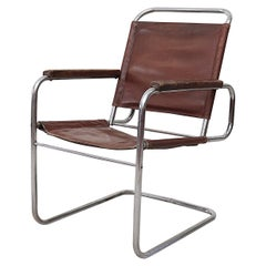 Bauhaus Leather and Chrome Armchair