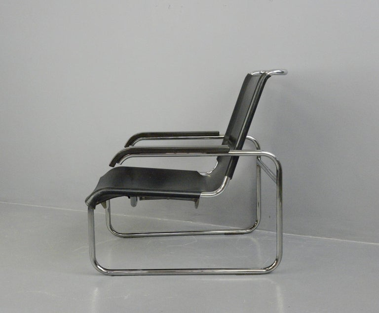 Leather Bauhaus Lounge Chair by Marcel Breuer for Thonet For Sale