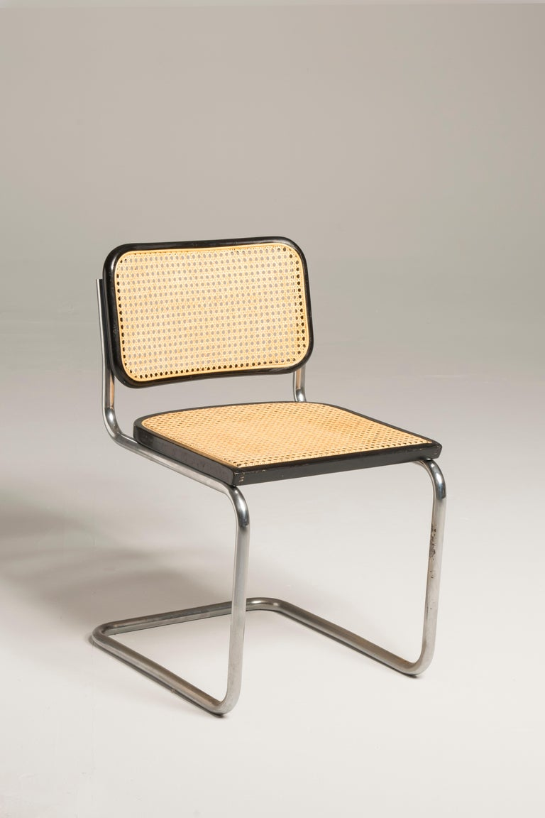 Marcel Breuer Cesca chairs for Knoll Production, 8 chairs available.  Cesca chair model n B 32, was designed in 1928 by Marcel Breuer, using tubular steel according to the Bauhaus ideology. In 1928, it was the first such tubular-steel frame caned