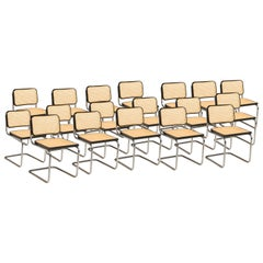 Bauhaus Marcel Breuer Cesca Chairs for Knoll Production, 18 Chairs Available