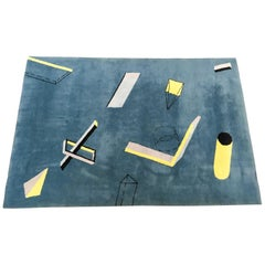 Bauhaus Memphis Art Architectural Geometric Wool Carpet/Rug, Blue Yellow Grey