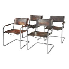 Bauhaus MG5 Leather Chairs by Matteo Grassi for Centro Studio, 1960s, Set of 4