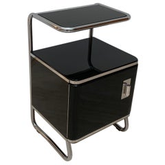 Bauhaus Nightstand / Side Table, Steeltube and Black Lacquer, Germany circa 1930