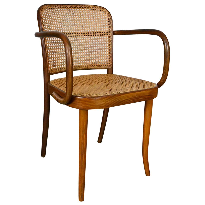 Bauhaus Oak Bentwood & Cane Josef Hoffman Prague 811 Chair for Stendig by Thonet