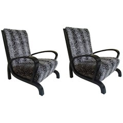 Bauhaus Pair of Armchairs Black Wood and Faux Fur Astrakhan New Recovered Seat