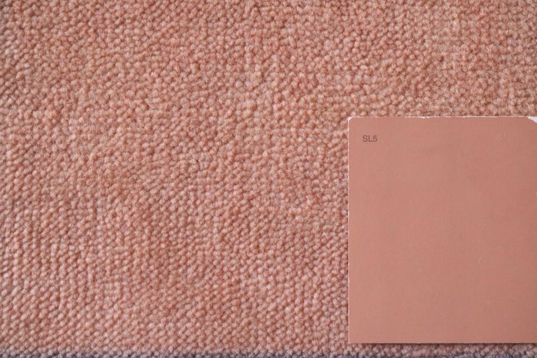 Bauhaus Pink Purple Gold Brown Mauve White Black Hand Knotted Runner Rug Pair For Sale 5