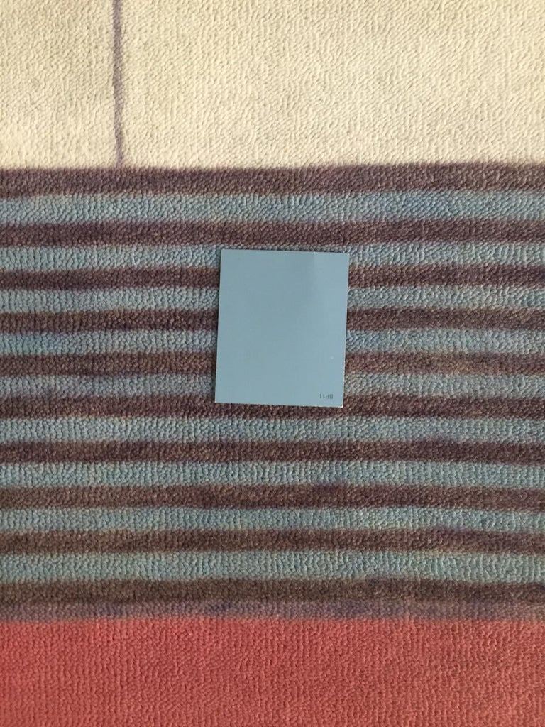 Hand-Woven Bauhaus Pink Purple Gold Brown Mauve White Black Hand Knotted Runner Rug Pair For Sale