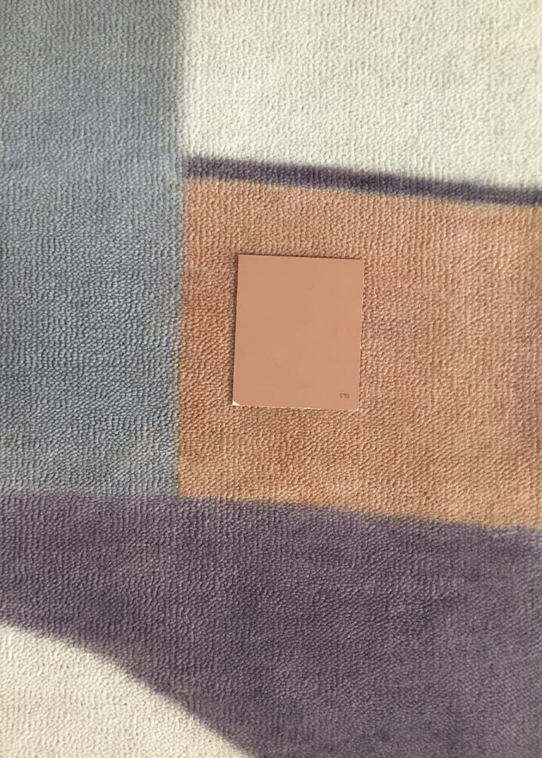 Bauhaus Pink Purple Gold Brown Mauve White Black Hand Knotted Runner Rug Pair In New Condition For Sale In GREAT NECK, NY
