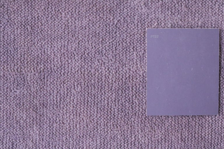Wool Bauhaus Pink Purple Gold Brown Mauve White Black Hand Knotted Runner Rug Pair For Sale