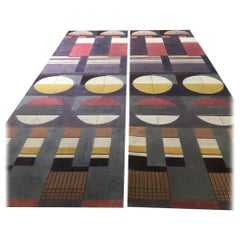 Bauhaus Pink Purple Gold Brown Mauve White Black Hand knotted Runner Rug, Pair