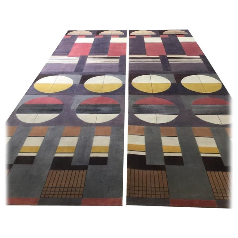 Contemporary Postmodern Bauhaus rug. The rug design is inspired by modernistic German Fine Art school, the Bauhaus, founded by Walter Gropius in Weimar. Functionality, directness, and asymmetry of design is favoured over ornamentation and symmetry.