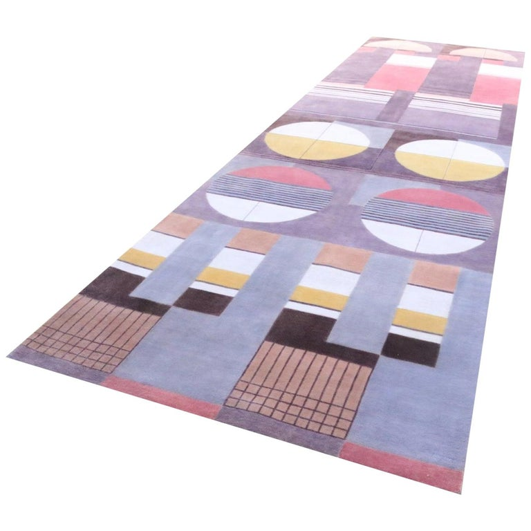 Bauhaus Pink Purple Gold Brown Mauve White Black Hand Knotted Runner Rug Pair For Sale