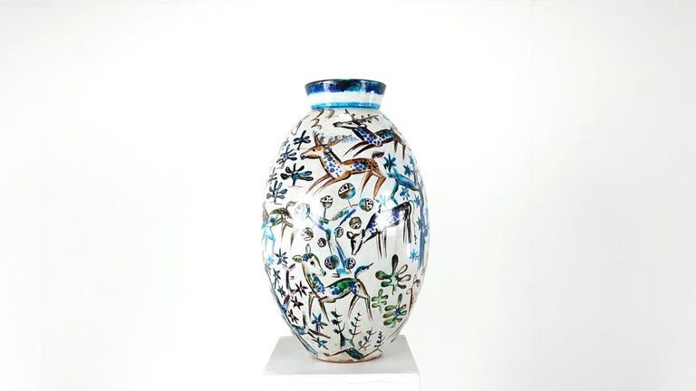 Bauhaus Professor Ludwig König Giant Vase Karlsruher Majolika For Sale 4