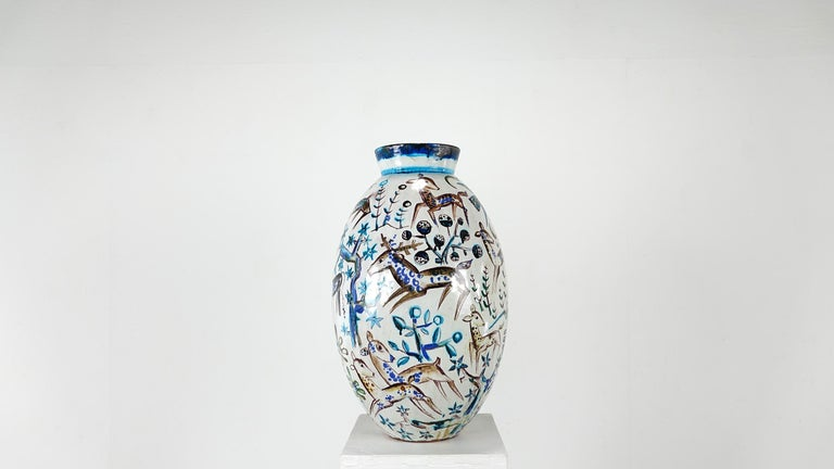 Bauhaus Professor Ludwig König Giant Vase Karlsruher Majolika In Good Condition For Sale In Munster, NRW
