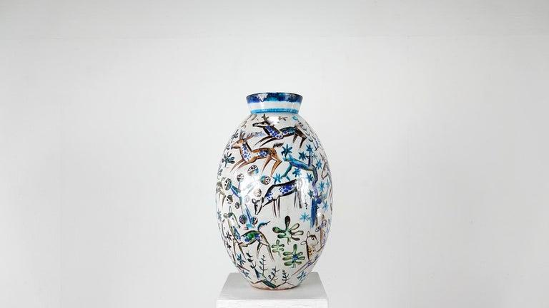 Ceramic Bauhaus Professor Ludwig König Giant Vase Karlsruher Majolika For Sale