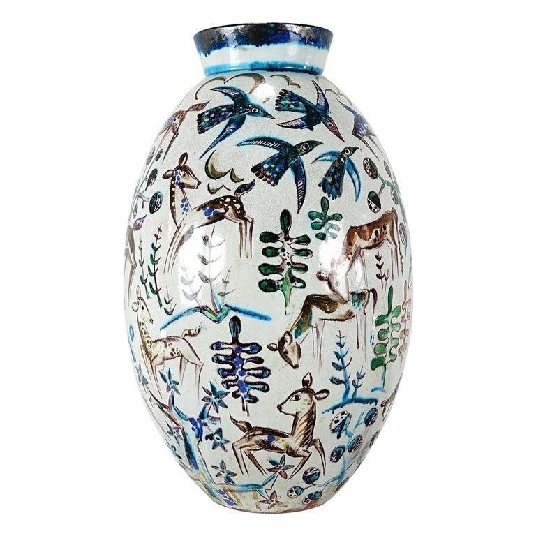 Bauhaus Professor Ludwig König Giant Vase Karlsruher Majolika For Sale