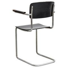 Bauhaus Rationalist Tubular Chair in Wood and Metal, circa 1930