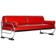 Bauhaus Red Tubular Chromed Steel Sofa by Robert Slezák, Design by Thonet, 1930s