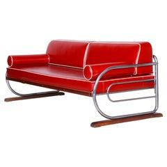 Bauhaus Red Tubular Chromed Steel Sofa by Robert Slezák, Fully Restored, 1930s