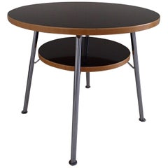 Bauhaus Round Center Table Birch and Black Kelko on Four Chrome Legs