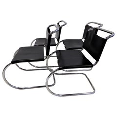 Bauhaus Set of 4 Modern Black Leather Knoll MR10 Dining Chairs Mies van der Rohe