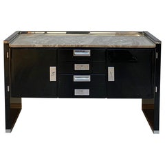 Bauhaus Sideboard, Black Lacquer, Nickel and Granite, Germany, 1920s
