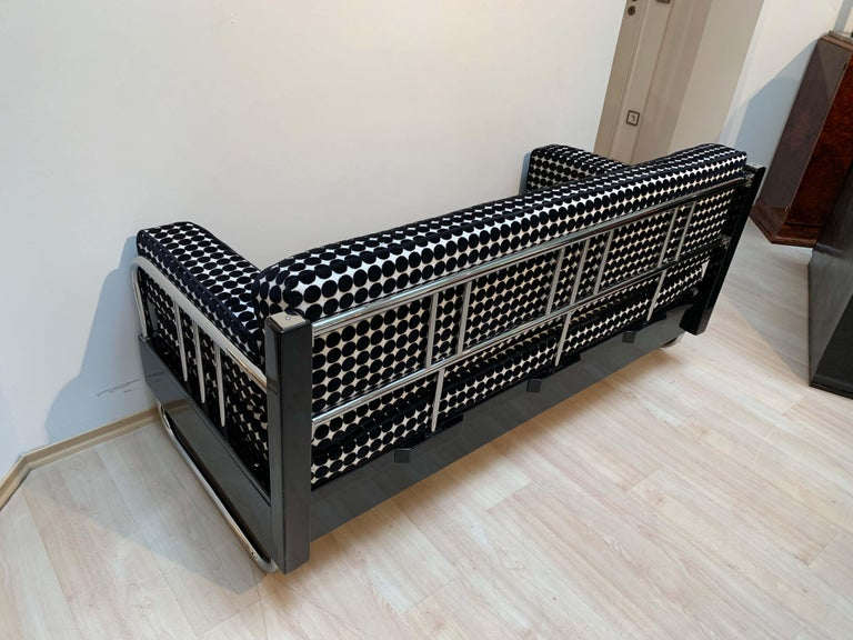 Bauhaus Sofa, Chromed Steeltubes and Black Lacquered Wood, Germany circa 1930s For Sale 8