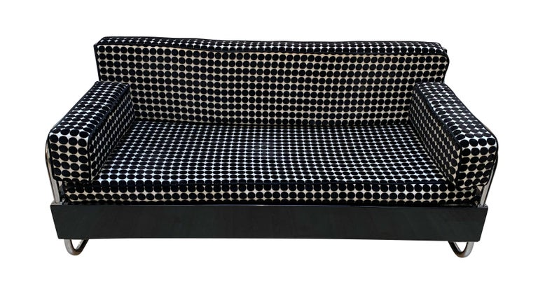 Bauhaus Sofa, Chromed Steeltubes and Black Lacquered Wood, Germany circa 1930s For Sale 4