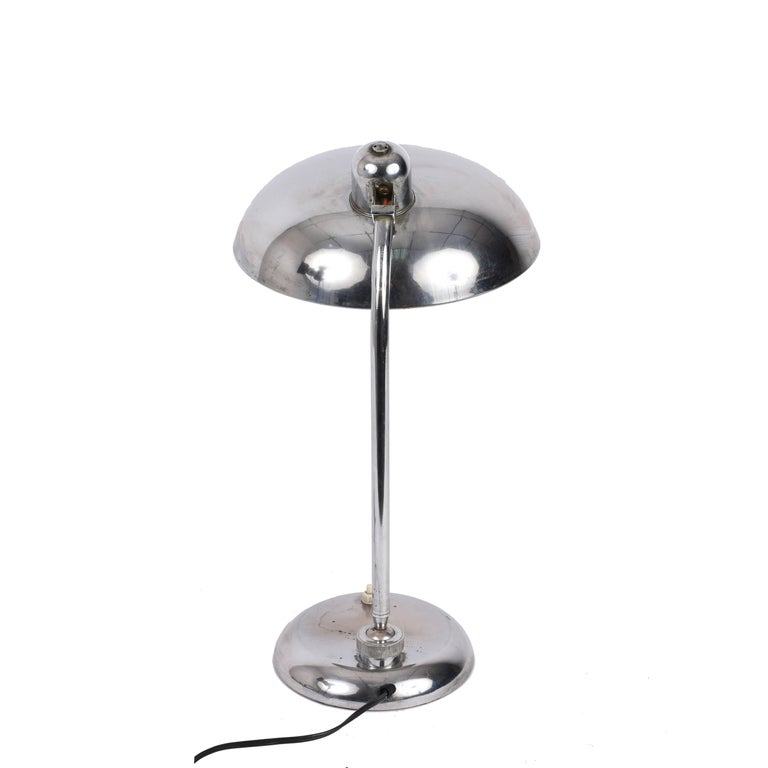 German Bauhaus Steel Table Lamp 1940s Industrial, Attributable to Dell, Lighting For Sale