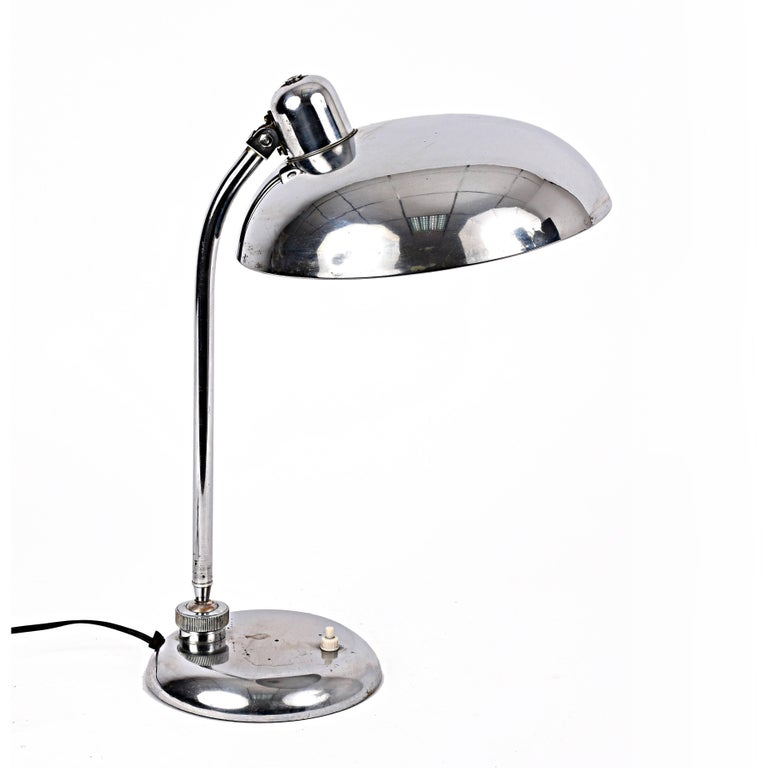 Bauhaus Steel Table Lamp 1940s Industrial, Attributable to Dell, Lighting In Good Condition For Sale In Roma, IT