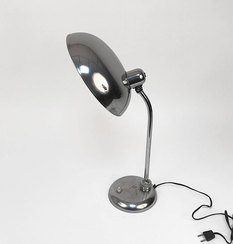 Bauhaus Steel Table Lamp 1940s Industrial, Attributable to Dell, Lighting For Sale 1