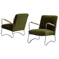 Bauhaus Style Armchairs, 1950s, Polish Design, Kvadrat Reupholstery, Set of 2