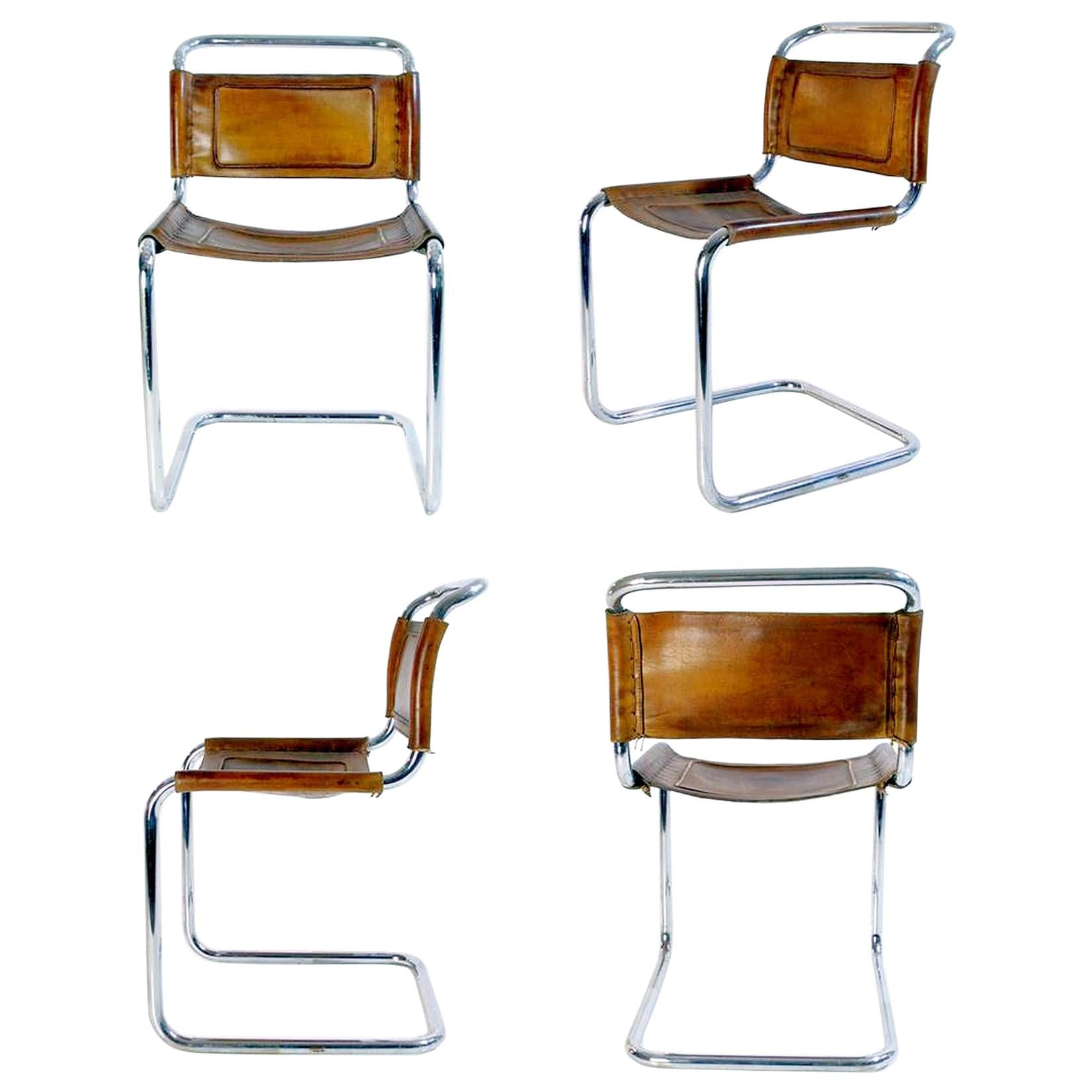 Bauhaus Style Dining Chairs in Metal and Leather, Italy, 1970s