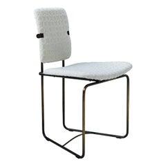 Late 20th Century Bauhaus Style Aged Brass & White Bouclé 'Jodie' S02 Chair