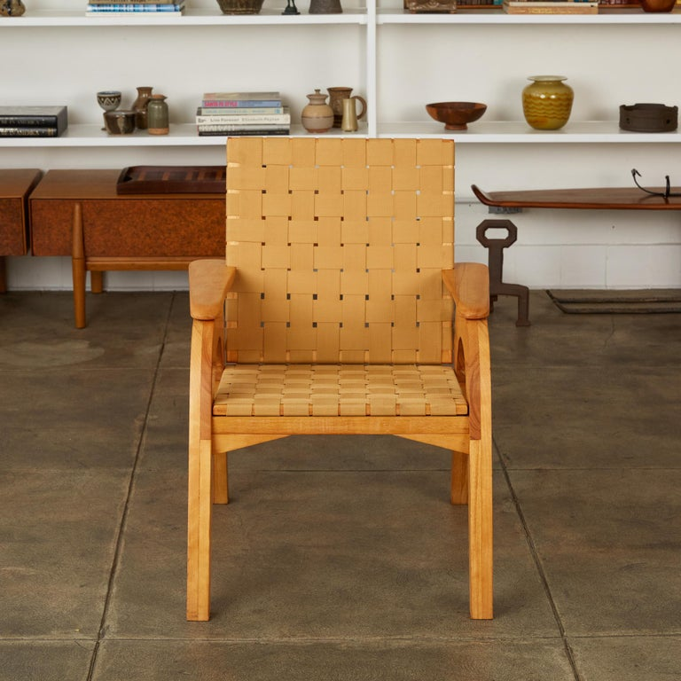 Unknown Bauhaus-Style Maple Lounge Chair with Nylon Webbed Seat