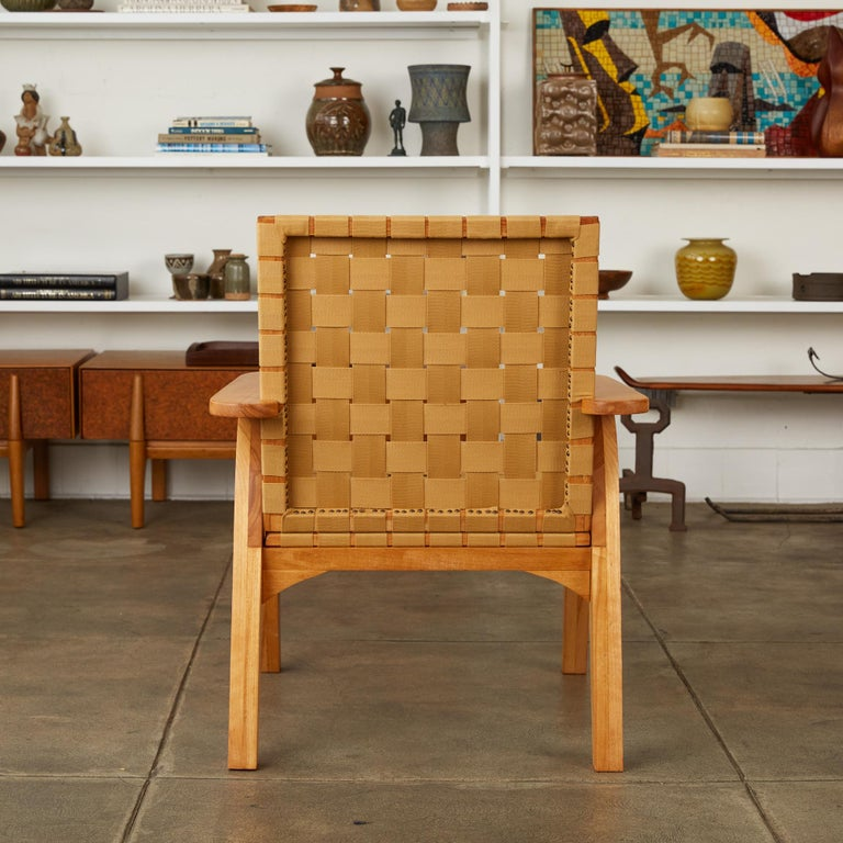 Woven Bauhaus-Style Maple Lounge Chair with Nylon Webbed Seat