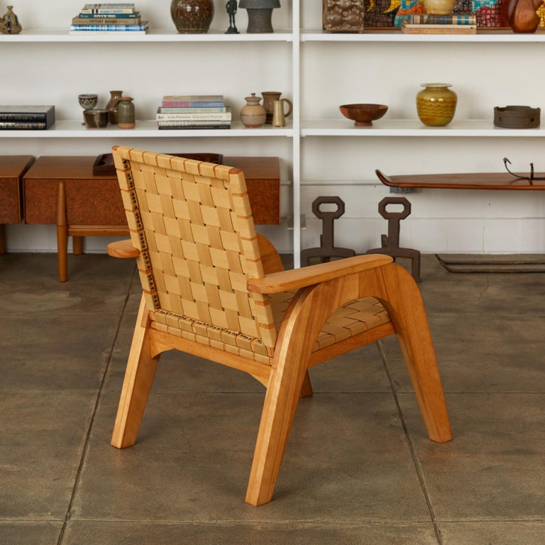 Late 20th Century Bauhaus-Style Maple Lounge Chair with Nylon Webbed Seat
