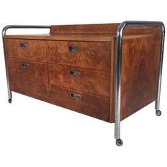 Bauhaus Style Midcentury Burl, Oak and Tubular Chrome Credenza or Sideboard