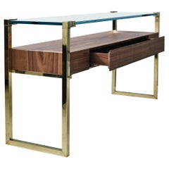 Bauhaus Style 'Orson' 'T53L' Console Table in Walnut, Glass, and Polished Brass
