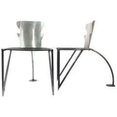 Bauhaus Style Pair of Chairs Made in Alumimium and Steel