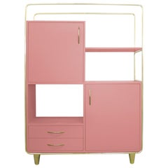 Bauhaus Style Pink Lacquered Wood and Brass Cabinet, Budapest