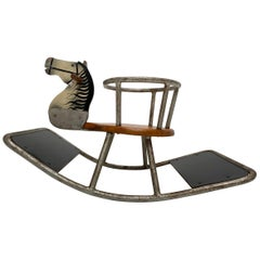 Bauhaus Style Rocking Horse Solid Round Metal and Wood, The Netherlands
