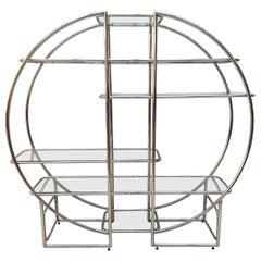 Bauhaus Style Shelf, Chrome-Plated Steeltubes and Glass, Germany, 1950s