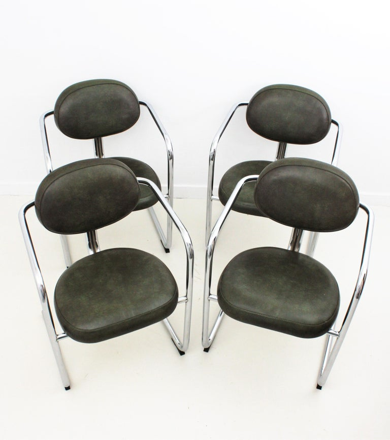 Bauhaus Style Tubular Chromed Steel Cantilever Armchairs, Set of Four For Sale 9