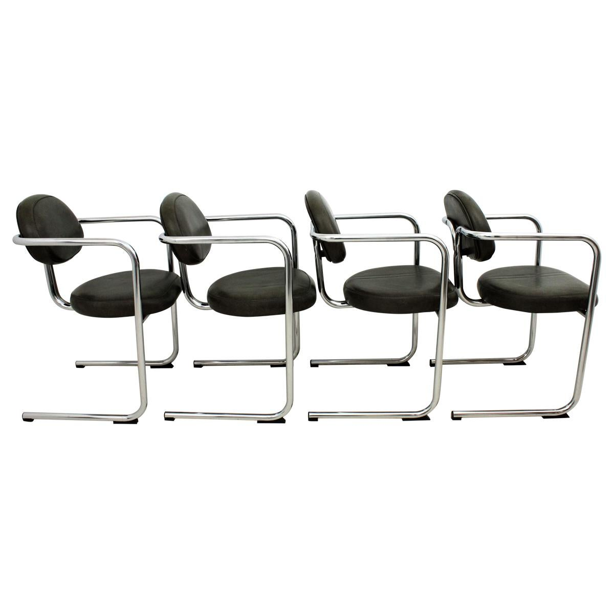 Bauhaus Style Tubular Chromed Steel Cantilever Armchairs, Set of Four