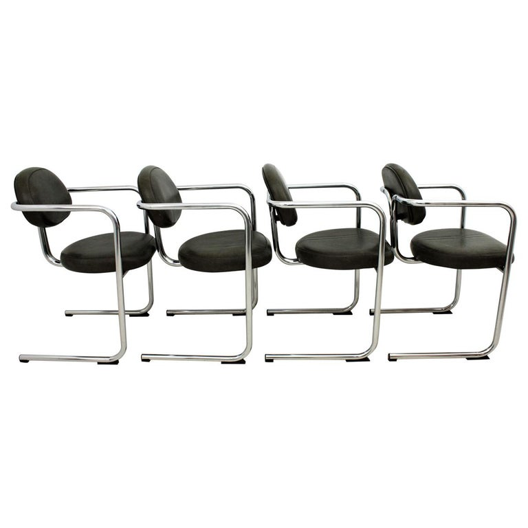 Bauhaus Style Tubular Chromed Steel Cantilever Armchairs, Set of Four For Sale