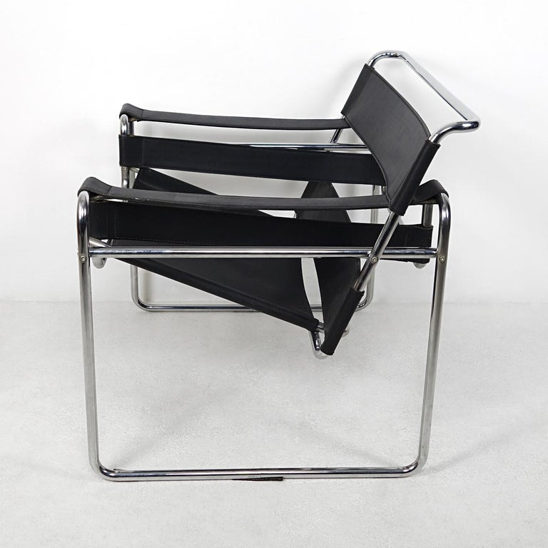 The Wassily chair, also known as the B3 Chair, was designed by Marcel Breuer in 1925 while he was working at the Bauhaus. The design was revolutionary in the use of material (bent tubular steel) and production method.