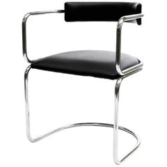 Bauhaus Tubular Armchair, Marcel Breuer Style, Chrome Metal, Leather, 1960s