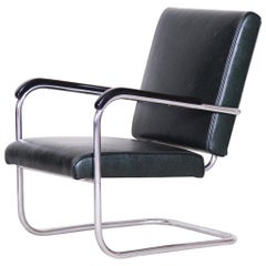 Bauhaus Tubular Chrome-Plated Steel Armchair by SAB, New Upholstery, 1930s